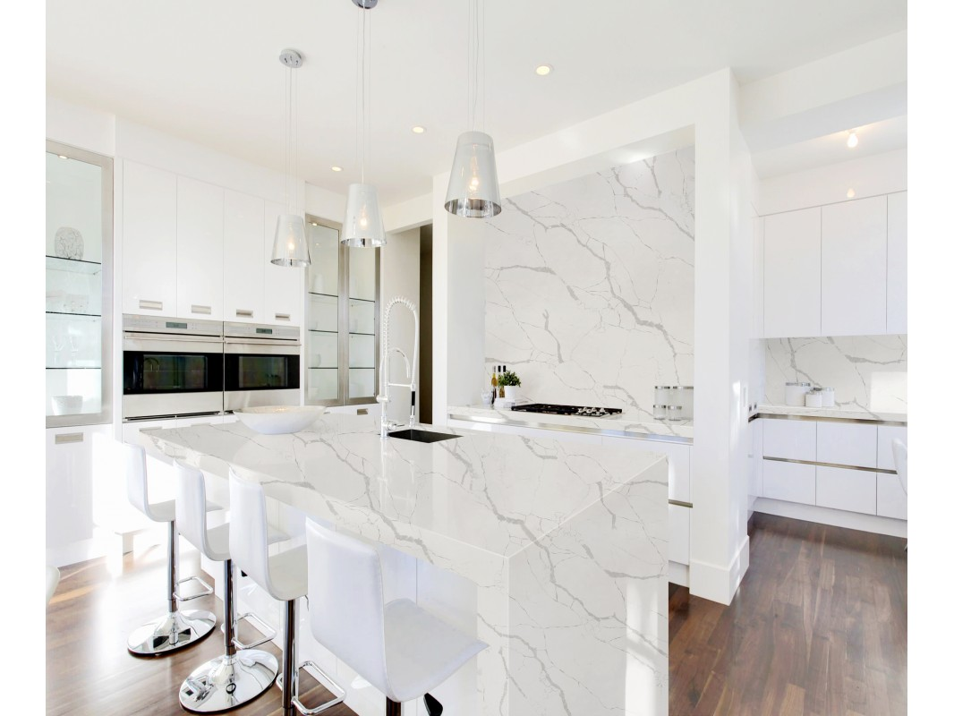 Wholesale M51 Calacatta Rio White Quartz Slab Kitchen