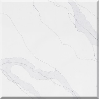 M113 Silver Calacatta Quartz Slab